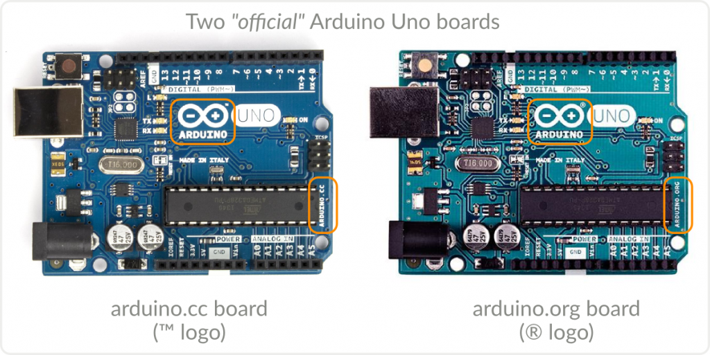 The two official Arduino Uno boards side by side